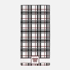 Black White and Red Plaid Beach Towel