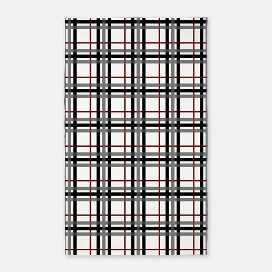 Black White and Red Plaid 3'x5' Area Rug