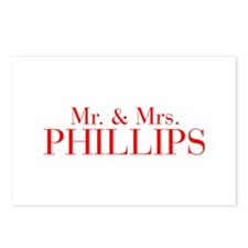 Mr Mrs PHILLIPS-bod red Postcards (Package of 8)