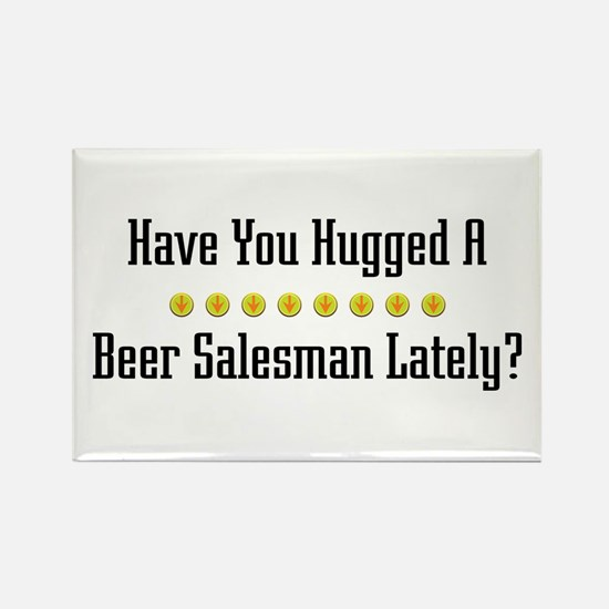 Hugged Beer Salesman Rectangle Magnet