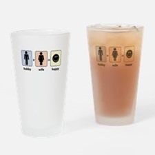 Hubby plus Wife equals Happy Drinking Glass