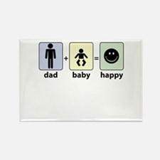DAD plus BABY equals HAPPY Magnets