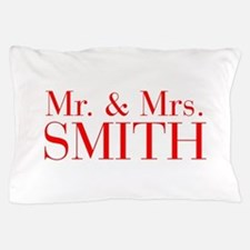 Mr Mrs SMITH-bod red Pillow Case