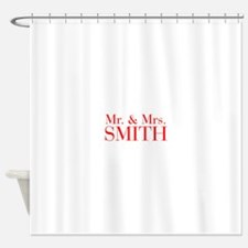 Mr Mrs SMITH-bod red Shower Curtain