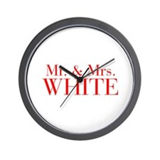 Mr Mrs WHITE-bod red Wall Clock