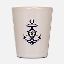 Antique Navy Blue Anchor Shot Glass
