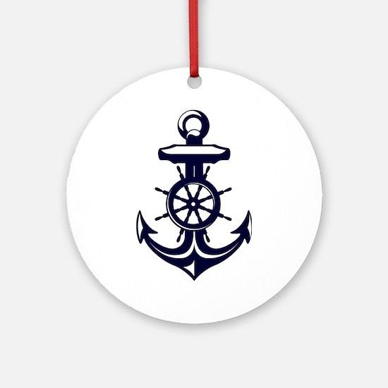Antique Navy Blue Anchor Ornament (Round)