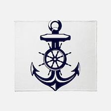 Antique Navy Blue Anchor Throw Blanket