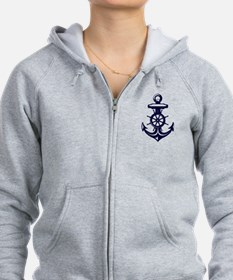 Antique Navy Blue Anchor Zip Hoodie