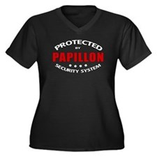 Papillon Security Women's Plus Size V-Neck Dark T-