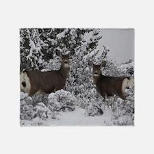 Mule Deer in the Oregon Snow Throw Blanket