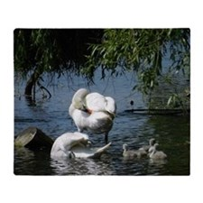 Swan and Cygnets Throw Blanket