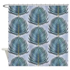 Stylized Peacock Feather - Blue Shower Curtain