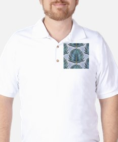 Stylized Peacock Feather - Blue T-Shirt