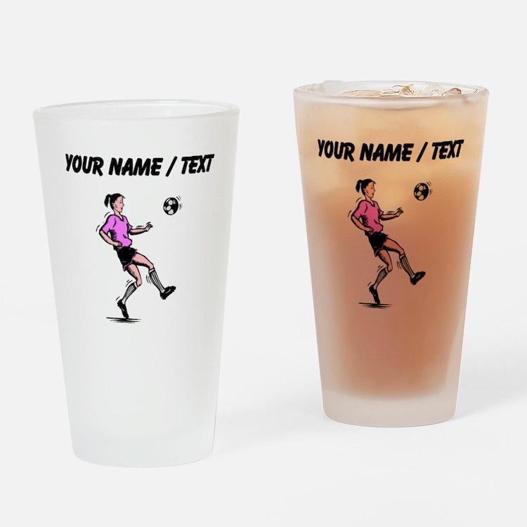 Custom Girl Soccer Player Drinking Glass