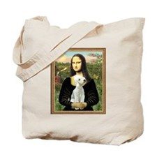 Mona Lisa & Bedlington Terrier Tote Bag