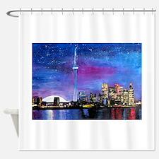 TorontoToronto Skyline at Night Shower Curtain