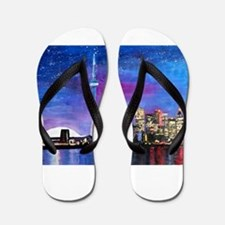 TorontoToronto Skyline at Night Flip Flops
