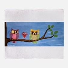 Owl Family On A Tree Throw Blanket