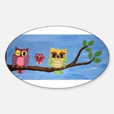 Owl Family On A Tree Decal