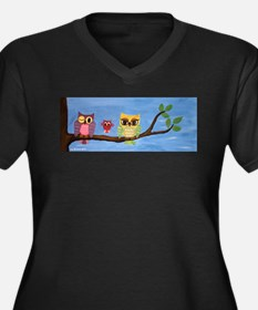 Owl Family On A Tree Plus Size T-Shirt