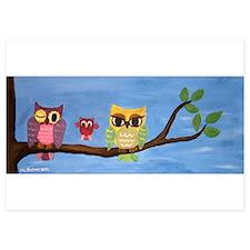 Owl Family On A Tree Invitations