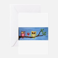 Owl Family On A Tree Greeting Cards