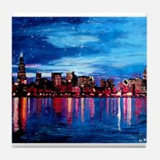 Chicago Skyline At Night Tile Coaster