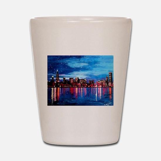 Chicago Skyline At Night Shot Glass