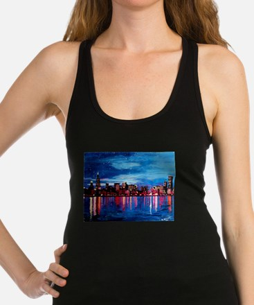 Chicago Skyline At Night Racerback Tank Top
