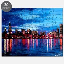 Chicago Skyline At Night Puzzle