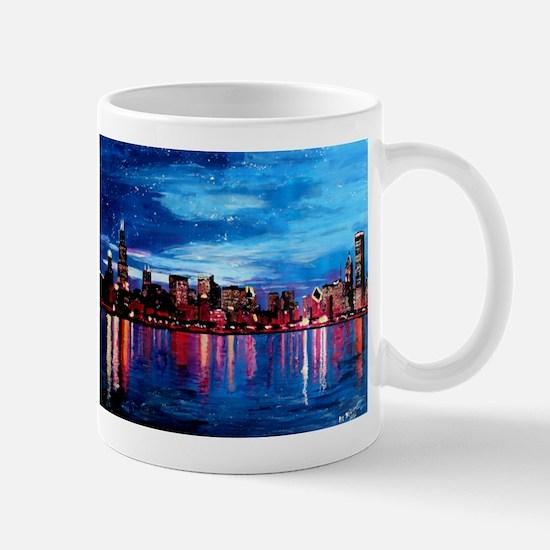 Chicago Skyline At Night Mugs