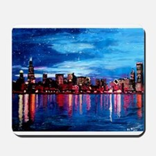 Chicago Skyline At Night Mousepad