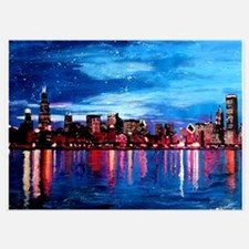 Chicago Skyline At Night Invitations