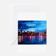 Chicago Skyline At Night Greeting Cards