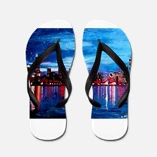 Chicago Skyline At Night Flip Flops