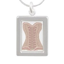Corset pink Lacy with Bo Silver Portrait Necklace