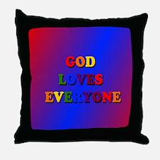 God loves everyone (rainbow) II Throw Pillow