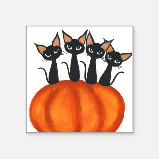 "Halloween Stray Cats Square Sticker 3"" x 3"""