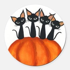 Halloween Stray Cats Round Car Magnet