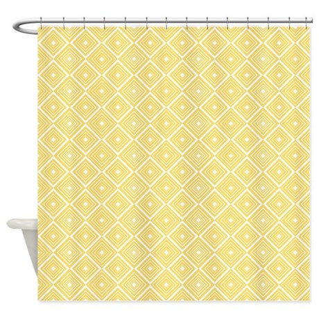 Diamond Pattern Yellow And White Shower Curtain By Cutetoboot