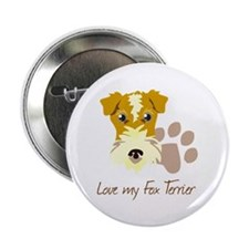 "Love my Fox Terrier 2.25"" Button (100 pack)"