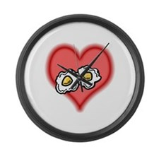 fried eggs on pink hearts.PNG Large Wall Clock