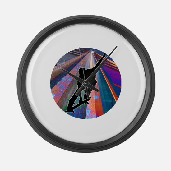 Skateboard on a Building Ray Large Wall Clock