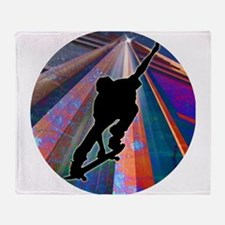 Skateboard on a Building Ray Throw Blanket