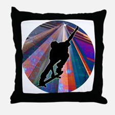 Skateboard on a Building Ray Throw Pillow