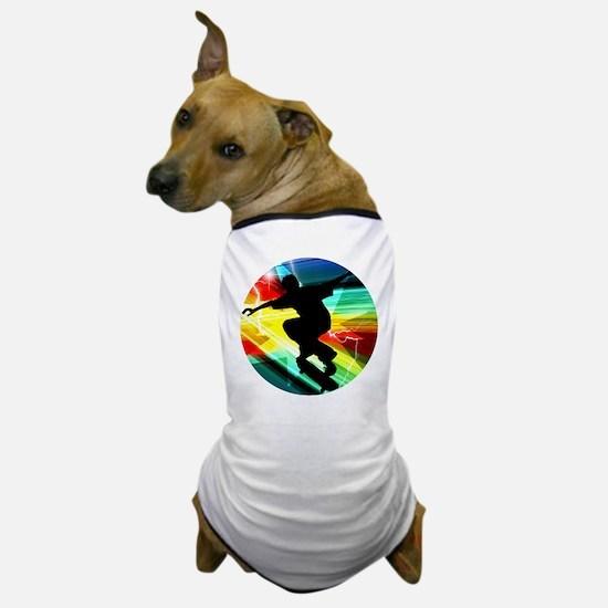 Skateboarder in Criss Cross Lightning Dog T-Shirt