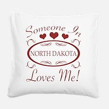 Somebody In North Dakota Love Square Canvas Pillow