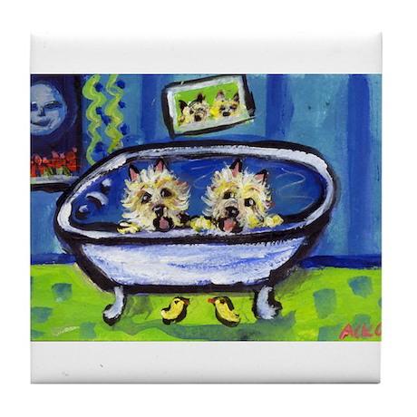 CAIRN terrier bath Tile Coaster