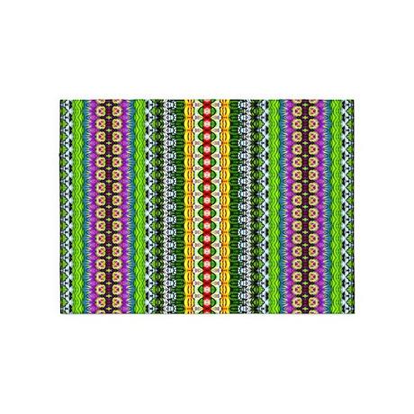Modern blue green and purple girly 5 x7 area rug by bimbys
